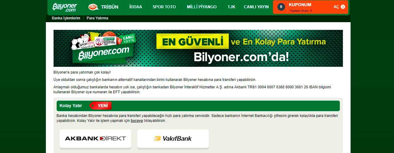 Bilyoner para yatırma Türkiye'de.