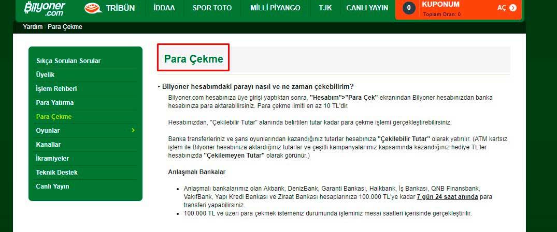 Türkiye'de Bilyoner para çekme yöntemleri.