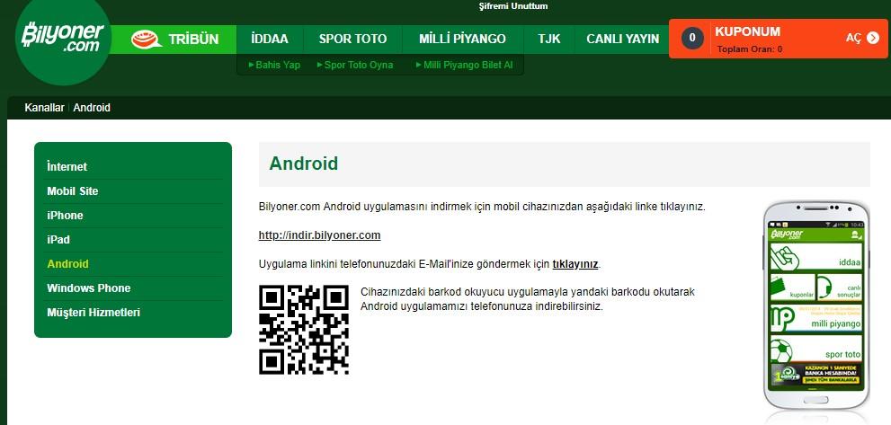 Bilyoner indir Android cihaz için.