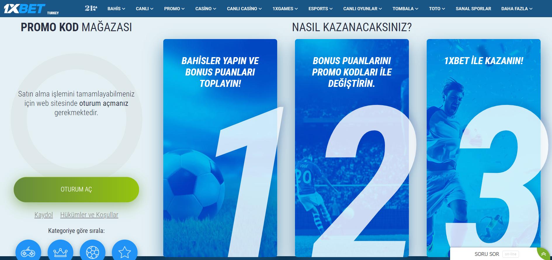 Türk 1xBet bonus hesabı